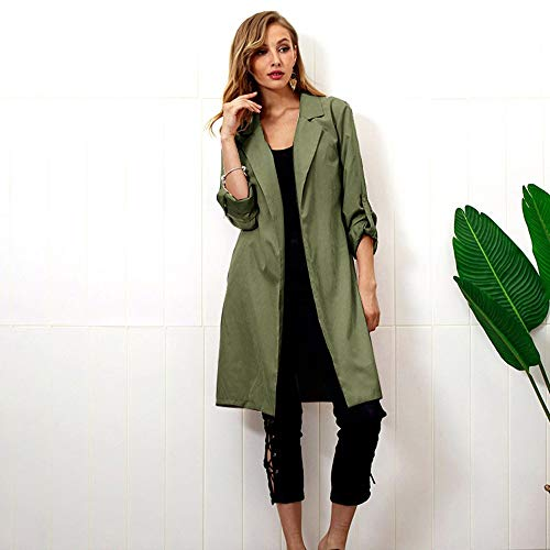 Green Femmes Taille Slim Ceinture Automne Manches Longues Cardigan Manteau Solide Hiver Survêtement Egcra Long Manteaux Chaud qCwSff
