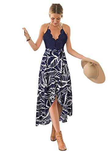 Blooming Jelly Women's Criss Cross Back Deep V Neck Sleeveless Summer Asymmetrical Floral Maxi Dress,S Blue