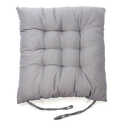 Soft Chair Cushion 100 Percent Cotton Chair Pad, Gray(set Of 4)