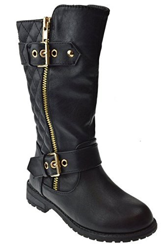 J.J.F Shoes Kids Girls Mango21 Black Dual Buckle/Zipper Quilted Mid Calf Motorcycle Boots-10