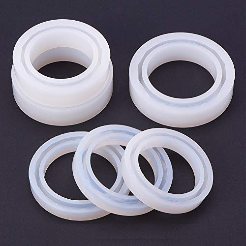 PandaHall Elite 6 Pcs 6 Sizes Silicone Mould Mold Round Resin Curve Bangle Bracelet Ring Circle Mould for DIY Jewelry Making ()