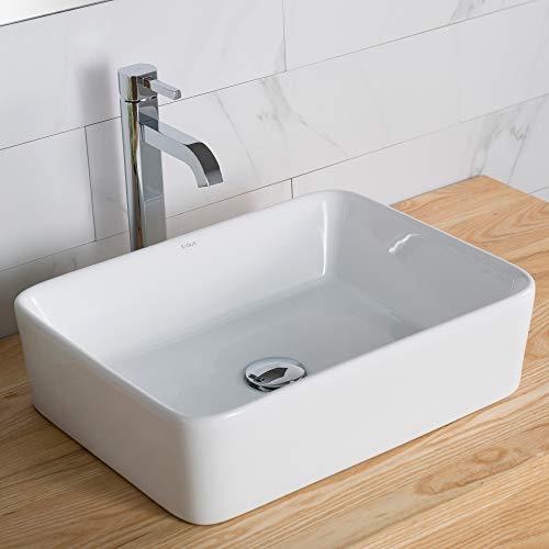 Kraus C-KCV-121-1007CH White Rectangular Ceramic Sink and Ramus Faucet Chrome