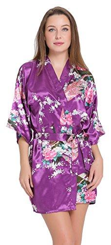 Aibrou Satén Kimono Pijamas Mujer, 3/4 Manga Estampado Camisón Mujer, Elegante Cómoda Pijama Bata Albonoz Para Casa,Cama. Morado oscuro