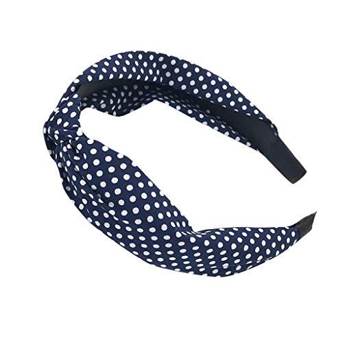 (iNoDoZ Women's Headband Vintage Twist Knot Hairband Cross Knot Dot Print Ribbon Wire Tartan Retro Scar Headband Navy)