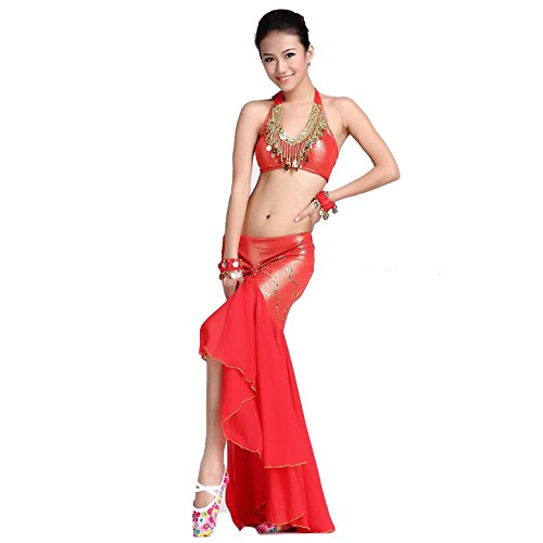 [Dancewear Belly Dance Suit Custome Sling Cion Bra & Ice Silk Package Hip Skirt red] (Sexy Belly Dancer Costumes)