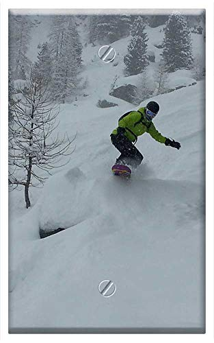 (Single-Gang Blank Wall Plate Cover - Snowboard Freeride Freeriding Height Mountains )