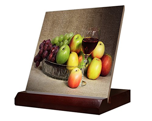 Ceramic Mix Fruit - Mix Fruit And Glass Of Red Wine Ceramic Tile & Stand 6