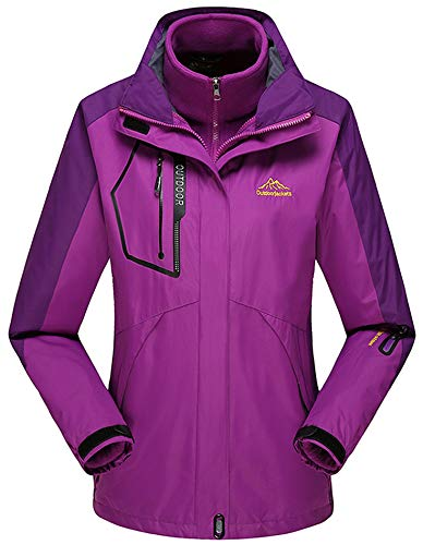 Rdruko Women's Outdoor 3-in-1 Waterproof Ski Jacket Fleece Inner Winter Coat with Detachable Hood(Purple,US L)