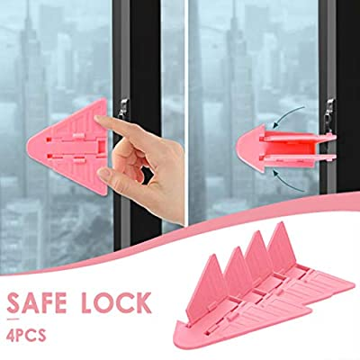 POPNINGKS 4PC Folding Doors Windows Protection Child Safety Locks Fall Prevention Sliding for Bedrooms, Bathrooms & Kitchens Pink: Clothing