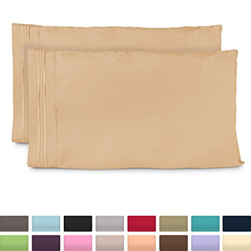 Gold Standard Pillow Set (Cosy House Collection Standard Size Pillow Cases - Luxury Gold Pillowcases - Fits Queen Size Pillows - Super Soft Hotel Luxury Pillow Case - Cool & Wrinkle Free - Hypoallergenic - Tan - Set of 2)