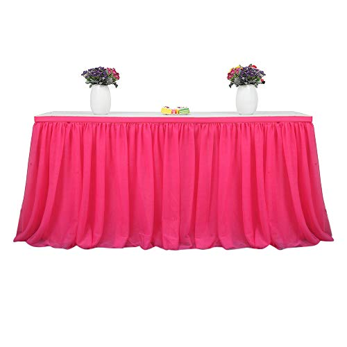 Dashi Tutu Tulle Table Skirt Cloth for Party Wedding Home Decor (Red) ()