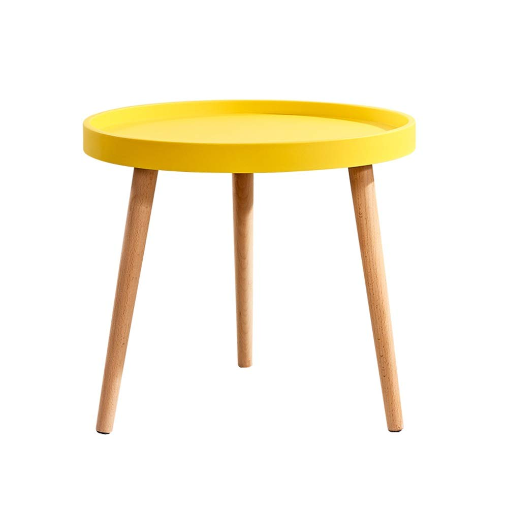 LJHA bianzhuo End Table, Round Solid Wood Small Coffee Table for Family Bar Living Room Lobby Bedroom 4 Colors Bedside Tables (Color : Yellow) by GYH End Table