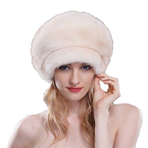 URSFUR Ladies Mink Fur Beret Hat (SAGA Pearl Beige)