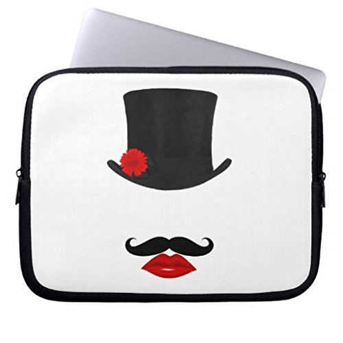 (Neoprene Laptop Sleeve Eratio Mod Top Hat Lady with Mustaches 15 Inch MacBook Air Case MacBook Pro Sleeve and 15 Inch Laptop Bag)