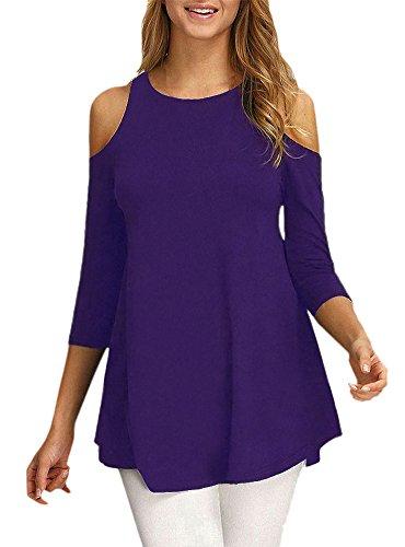 Afibi Womens Cold Shoulder Half Sleeve Swing Tunic Tops for Leggings (Large, Purple)