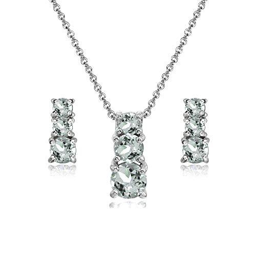 Sterling Silver Light Aquamarine Round Graduating Three Stone Stud Earrings & Necklace Set