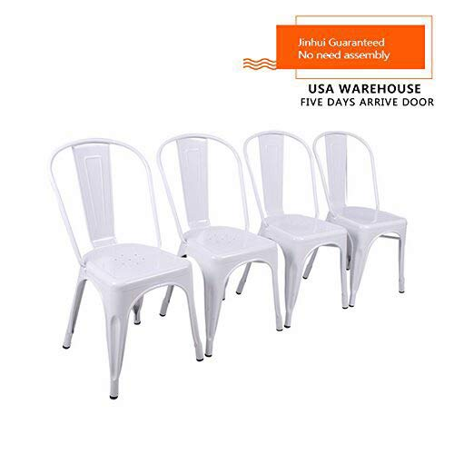 Tolix Metal Chair, Nice Price Steel Iron Frame White Modern Design Vintage Industrial Dining Chair 4 Sets
