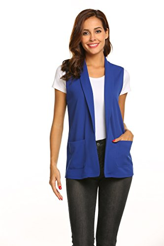Dealwell Women's Sleeveless Coat Open Front Solid Color Vest Blazer Cardigan with Pocket (Royal Blue, X-Large)