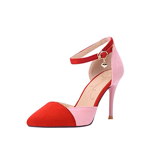 Charm Foot Womens Hit Color High Heel Mary Jane Pumps Shoes Red ZojBJjOR