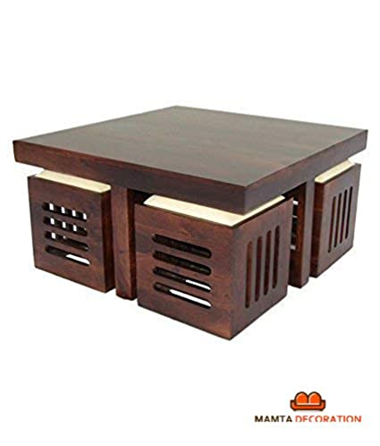 Mamta Decoration Wooden Coffee Table With 4 Stools For Living Room