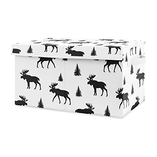 Sweet Jojo Designs Black and White Woodland Moose Boy Baby Nursery or Kids Room Small Fabric Toy Bin Storage Box Chest for Rustic Patch Collection