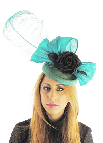 Silk Sinamay & Silk Flower Elegant Ladies Ascot Wedding Fascinator Hat Jade Black by Hats By Cressida