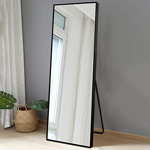 BOLEN Dressing Mirror Full Length Mirror Standing Hanging or Leaning Against Wall Mirror Aluminum Alloy Frame Mirror 65