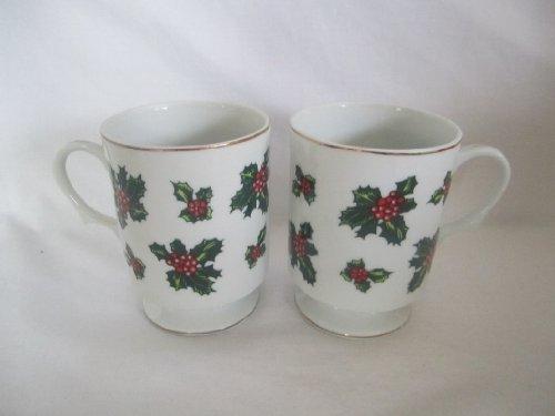 Set of 2 - Vintage Lefton China Hand Painted Holly Leaf Pedestal Cups Mugs