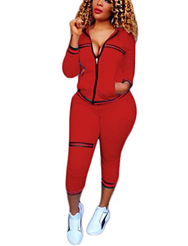 Women Two Piece (Womens Two Piece Outfits Hooded Jacket Suit Pants Set Sweatsuits Red L)