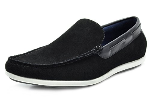 Bruno Marc Men s Kilin-01 Black Driving Loafers Moccasins Shoes ... b10e54a3a
