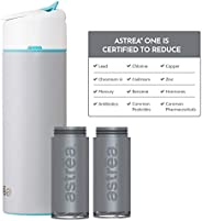 astrea ONE Premium Stainless Steel Filtering Water Bottle, 20 Oz with Additional Filter, Grey/Blue