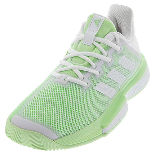 adidas Women's SoleMatch Bounce Tennis Shoe, White/White/Glow Green, 8.5 M US