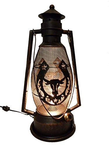 Horse Shoe - Steer Head Metal Electric Lantern 15.25