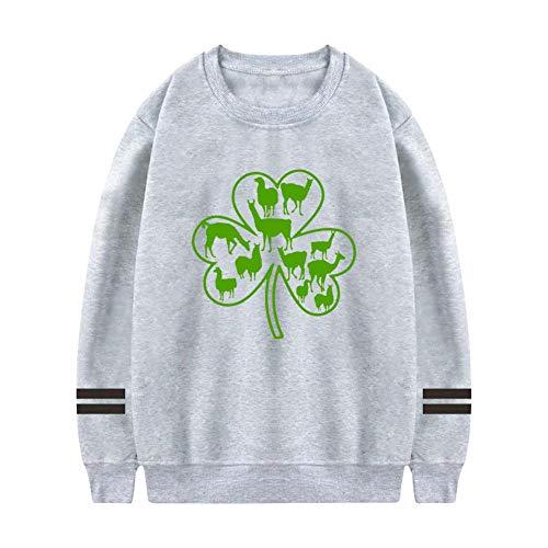 NNaseg Mens Sweatshirt   Funny Green Llama St. Patricks Day Trend Element Printed Soft Cotton Long Sleeves t Shirt 3XL -