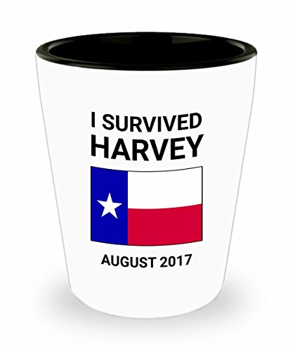 Hurricane Harvey Survivor Shot Glass I Survived Houston Texas Mega Storm August 2017 Gift San Antonio Lone Star State Ceramic Standard 1.5 ounce White