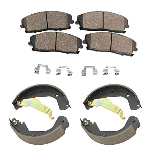 - Detroit Axle - Front Ceramic Brake Pads + Rear Ceramic Brake Shoes w/Hardware Clips for 2009 2010 2011 2012 2013 Chevy Silverado 1500 GMC Sierra 1500 Rear Drum Brake Models ONLY