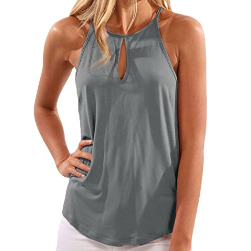Howstar Women's Casual Halter Shirt Sleeveless Tank Tops Solid Color Blouse Cute Ladies Blouses (M, Gray)