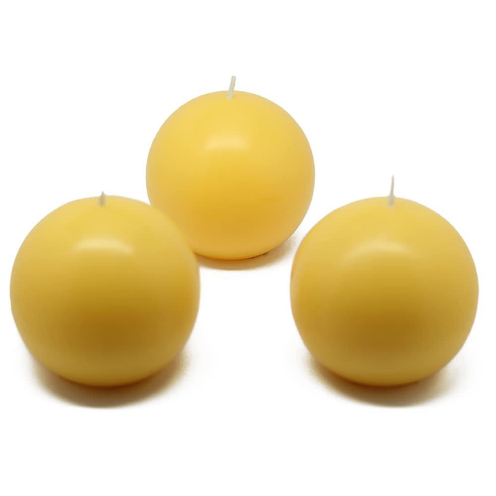 Jeco Inc. 3'' Yellow Ball Candles (36pcs/Case) Bulk