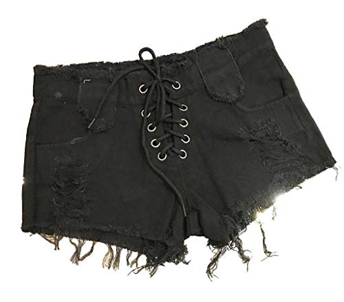 COMVIP Donna Club Button Sexy Denim Thong Cheeky Mini Jeans Style3 Nero