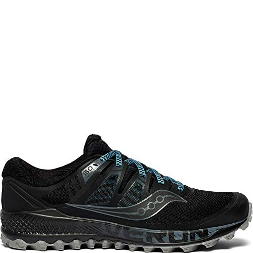 Saucony Men's Peregrine ISO Trail Running Shoe, Black/Grey, 9.5 M US