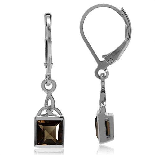 Cut Smoky Quartz Drop Earrings (1.38ct. Natural Smoky Quartz 925 Sterling Silver Triquetra Celtic Knot Leverback Dangle Earrings)