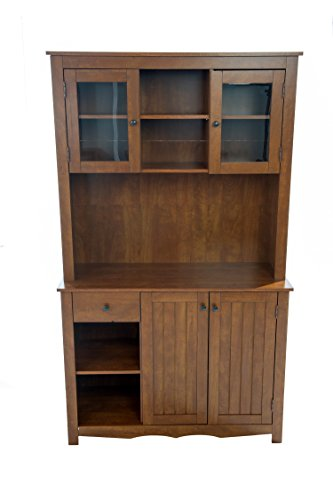 Home Source Industries Oak Hills Hardwood China Cabinet, Oak Finish (Glass Oak Cabinet China)