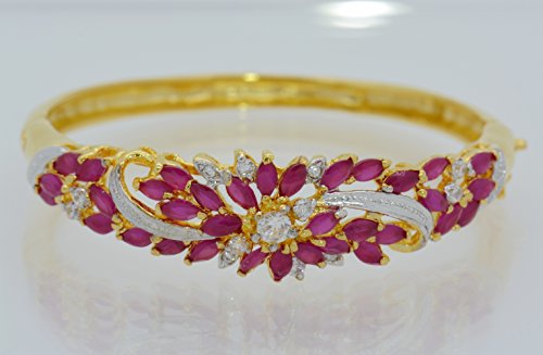 Gorgeous 22k 23k 24k Yellow Gold Plated Women Rare Thai Flower Cubic Zirconia Cz AAA Syn Ruby Bracelets Cuff Bangle 5 Mm 5.5 - Bracelet 22k