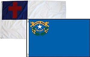 2x 3cristiana Cristo y estado bandera de Nevada 2unidades al por mayor Combo 2'x3' bandera ojales doble costura resistente a la decoloración Premium calidad