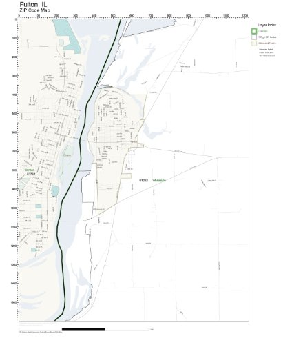 Amazon Com Zip Code Wall Map Of Fulton Il Zip Code Map Laminated