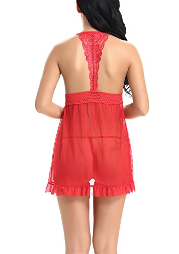 Red Chemise Ornate V Lingerie Babydoll Lace Open Adorneve dqwzI0I