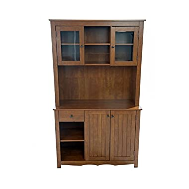 Home Source Industries Oak Hills Hardwood China Cabinet, Oak Finish