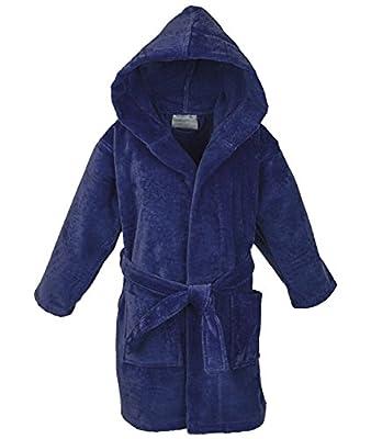 STAR Boys 100% Cotton Velour Hooded Terry Robe Bathrobe Blue