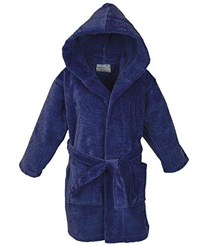 Star Boys Girls Kids Bathrobe Cozy Velour Hooded Robe (10-12 Years, Blue)