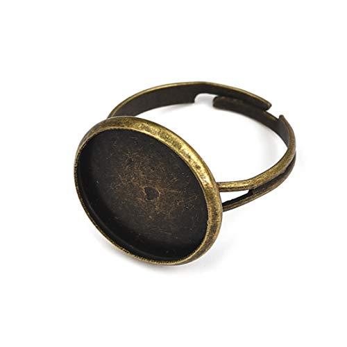 Lanbeide 20 Pcs Ring Settings Cabochon Base Bezel Pendant Tray Blank for Cabochon Cameo DIY Fashion Rings Adjustable Ring Base, 14.1mm